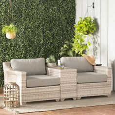 Sol 72 Outdoor Falmouth 3 Piece Rattan Seating Group with Cushions Cushion Colour: Grey Patio Chairs, Outdoor Seating, Outdoor Sofa, Outdoor Spaces, Outdoor Living, Outdoor Ideas, Deck Patio, Outdoor Fun, Diy Garden Furniture