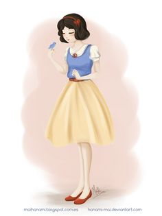 """I wanted to experiment a new, more """"painterly"""" style... Something soft, with no lines and pastel tones. So, here's Snow White, in 1950's-ish cute clothes. ...I really liked the result! (so I think ..."""