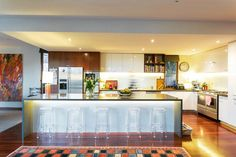 The Electric Crew collaborated with the owners of this beautiful Hawthorn home to improve both the function and ambience of the lighting. The kitchen is one of the most used spaces in the home and these strip LEDS create a washed light effect that illuminates whilst remaining soft.  #electrician #melbourneelectrician #hawthorn #home #lighting #lights #kitchen #renovations #design #interiordesign #decor #jobs