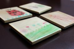 Wood Photo Coasters - Your favorite child's drawings or photos on coasters! - pinned by pin4etsy.com