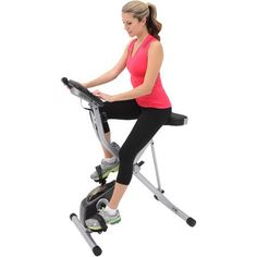 Exerpeutic Space Saver Magnetic Upright Exercise Bike with Heart Pulse Sensors