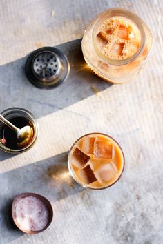 Coffee cold brew with maple, pink Himalayan salt cocktail