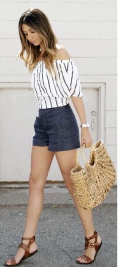 Stitch Fix Fashion 2017! Ask your stylist for something like this in your next fix, delivered right to your door! #sponsored #StitchFix Off the shoulder white top with verticle navy stripes, jean shorts. Spring & Summer fashion