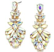 Aurora Gold AB Long Crystal Earrings Elegant Prom Bridal Jewelry