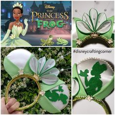 How many frogs have you kissed? Tiana inspired Mickey Ears Disney's The Princess Frog Disney Ears Headband, Diy Disney Ears, Disney Headbands, Disney Mickey Ears, Minnie, Disneyland Ears, Disneyland Outfits, Tiana Disney, Disney Day