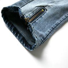 Bărbați Jeans Stretch Destroyed Ripped Folds Moda Design Glezna Fermoar  Skinny Biker Jeans Pentru Barbati Pantaloni Jogger Plus Dimensiune 38 9349fc1a7f6