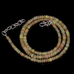 "36CRTS 3to4.5MM 18"" ETHIOPIAN OPAL RONDELLE BEAUTIFUL BEADS NECKLACE OBI1675 #OPALBEADSINDIA"
