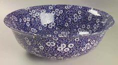 Staffordshire CALICO BLUE (BURLEIGH STAMP) Fruit Bowl 4191921 #Staffordshire