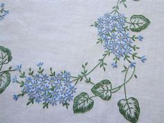 Gorgeous Blue Lilacs Vintage Linen Tablecloth Hand Embroidered Flowers | eBay