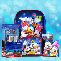 Mickey Mouse Gift Idea for Kids School Supplies by Gift Basket 4 Kids. $54.99. includes pencils, crayons, markers and scented gel pens. Mickey Mouse Utility backpack included. Mickey Mouse School Supplies. Complete set of school stationery. All you need for school. Looking to eliminate the headache of back to school shopping? Are you looking for a perfect students birthday gift? Look no further! This complete set of school supplies with Mickey Mouse includes a ...