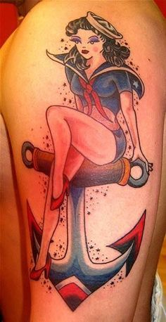 pin up girl on an anchor tattoo - Google Search
