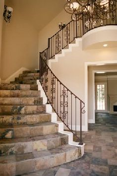 Entry staircase with slate flooring