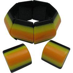 Swinging Sixties Lucite Stripe Bracelet Earrings Set from Rhinestone Salad at RubyLane.com
