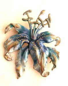 Tiger Lily Brooch Blue Silver Enamel Genuine Authentic Vintage.