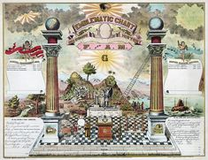 Emblematic Chart and History Print masonic poster freemason artwork ring Masonic Art, Masonic Symbols, Freemason Symbol, Fine Art Prints, Framed Prints, Canvas Prints, Great Chain Of Being, Templer, Freemasonry