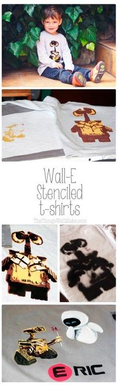 Make your own Wall-E and Eve shirts with these Wall-E stencils and some freezer paper. Two designs are available, with a link to an easy option shirt. Includes links to free Silhouette Cameo files for the stencils (as well as jpg. files for hand cutting).