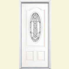 Masonite 36 in. x 80 in. Chatham Three Quarter Oval Lite P