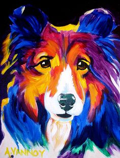 Colorful acrylic of a beautiful collie.