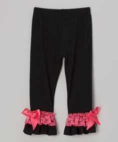 Loving this Black & Pink Lace Ruffle Pants - Infant on #zulily! #zulilyfinds