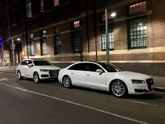 #Regram via @bayside_limousines Our White Audi A8 and Q7 waiting to pickup some of our clients last night call us to arrange a quote#audi#a8l#q7#carhiresydney#luxurycarhire#weddings#baysidelimousines