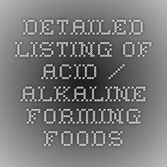 Detailed Listing of Acid / Alkaline Forming Foods
