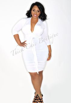 "White 3/4 Sleeve Dress,  #curvy  # thick   ""if you follow my Curvy Girl's Spring/Summer Closet, make sure to follow my Curvy Girl's Fall/Winter Closet.""   http://pinterest.com/blessedmommyd/curvy-girls-fallwinter-closet/"