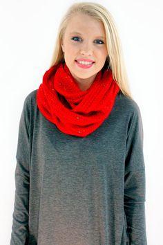 Speckled Knit Infinity Scarf - Warm and cozy in this vibrant red knitted scarf with multi colored flecks woven into fabric.  - available online at http://www.envyboutique.us/shop/speckled-knit-infinity-scarf/ #Envy #Boutique #chic #fashion #fashiontrends #KnittedScarf, #RedScarf