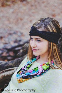 Black Turban Noir Neutral Basic Yoga Soft by PiecesToPeaces