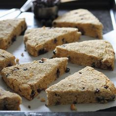 Wild Blueberry Orange Scones Recipe Breads with almond flour, cashew flour, coconut flour, baking powder, salt, coconut oil, coconut sugar, orange, almond milk, blueberries