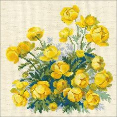 """Globe Flower Counted Cross Stitch Kit-8""""X8"""" 14 Count"""