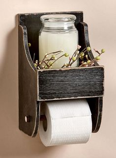 Rustic Toilet Paper Holder with Shelf Country Farmhouse Bathroom Decor, Rustic b. - Rustic Toilet Paper Holder with Shelf Country Farmhouse Bathroom Decor, Rustic bathroom decor, Prim - Rustic Toilet Paper Holders, Farmhouse Bathroom Decor, Rustic Toilets, Primitive Decorating Country, Rustic Diy, Bathroom Decor, Primitive Bathrooms, Toilet Paper, Country House Decor
