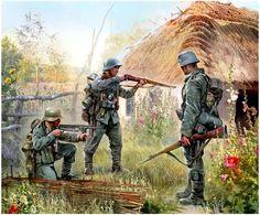 .tyske soldater på husbesøg et sted i Rusland (der bliver nok ikke til kaffe og kage)