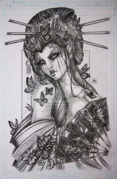 Pin up illustrations portraits on behance art japanese geisha tattoo, geish