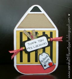Pencil shaped card design by Alaa Studio | Sarah's Little Snippets: Teacher cards and Gifts - Fabric Hearts