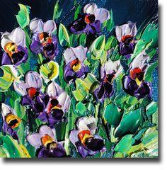 Flower Painting Original Oil Painting  Palette Knife by bsasik, $50.00