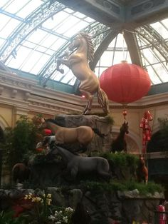 It's the year of the horse! We're loving the beautiful display at the Bellagio Las Vegas #horse #ChineseNewYear #inspiration
