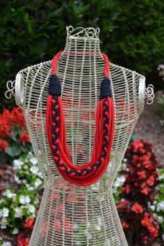 Red and Black Upcycled Tshirt Necklace with by FashionistaFanatic