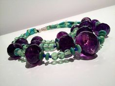 Antique Amethyst, Lapis, Chinese Turquoise and Antique Glass bead Necklace with Sterling Silver Clasp. This piece and other beautiful jewelry by KERRY MACBRIDE is on view now and available for purchase. For information and pricing please call 646-483-9109.