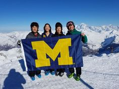 Andrew Park, current U-M student Elaine Park, Paula Park, '88, MPH'91, MSW'91, and Yoonho Park, MSE'90, PhD'97, took a family photo on top of Aiguille Rouge in France.