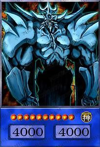 obelisk the tormentor. Egyptian god card.(obelisk is the Egyptian god that's a fiend instead of a dragon)-(technically he's a beast type-never mind specific's)
