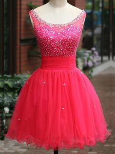 Simple Dress Short Scoop Beading Tulle Backless Tulle Prom Dresses/Homecoming Dresses TUPD-7158