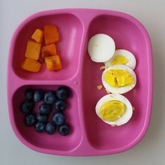 """""""#Breakfast was #eggs / #butternutsquash with #cinnamon / #blueberries and he snacked on 2 #rusks while I made his breakfast. @replayrecycled #latergram…"""""""
