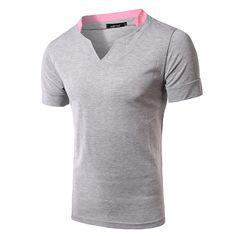 e013ae254dc Camiseta casual de estilo liso de color sólido de algodón con mangas cortas  de v cuello