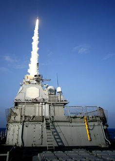 A missile is launched from the USS lake Erie at a non-functioning satellite. It travels in space more than 17,000 mph over the Pacific Ocean in Feb 2008