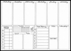 free bullet journal printable from The Petite Planner: weekly spread Bullet Journal 2020, Bullet Journal Aesthetic, Bullet Journal Notebook, Bullet Journal Spread, Bullet Journal Inspo, Bullet Journals, Bullet Journal How To Start A Layout, Planner Pages, Life Planner