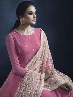 Pink Georgette Anarkali Suit with Mirror Work and Lakhnavi Dupatta Anarkali Tops, Anarkali Dress, Anarkali Suits, Long Anarkali, Lehenga Suit, Party Wear Lehenga, Saree, Kurta Designs, Blouse Designs