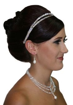 Handmade crystal 2 strand hair band, finished in swarovski crystals.  www.redki.com.au  Hair by Ultimate Bridal, Hair piece by Redki Wearable Art.