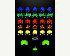 Space Invaders Printable art Retro Minimalist Art por GraphicCover