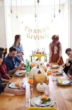 Thanksgiving table #PinToWin #Anthropologie http://www.abeautifulmess.com/2013/11/friendsgiving-2013.html?pintix=1