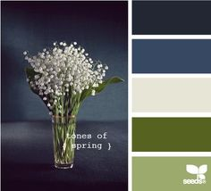 Color palette, greens, blues, off white.